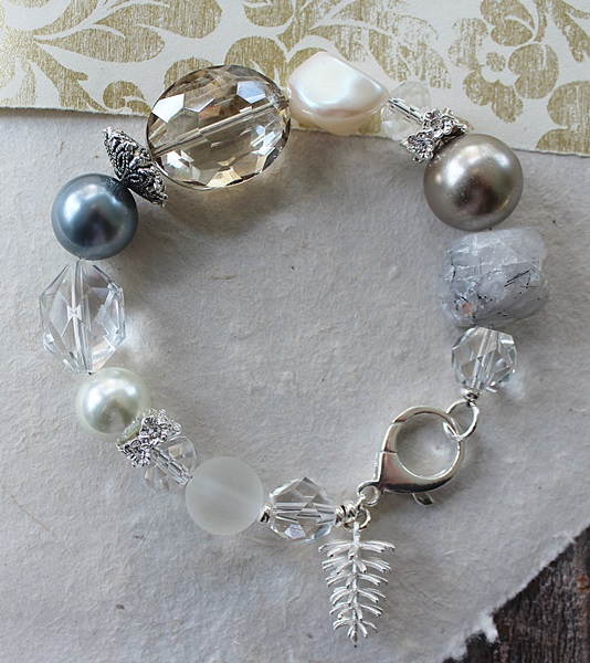 Mixed Gems, Glass, and Lucite Chunky Sterling Bracelet - The Winter Bracelet
