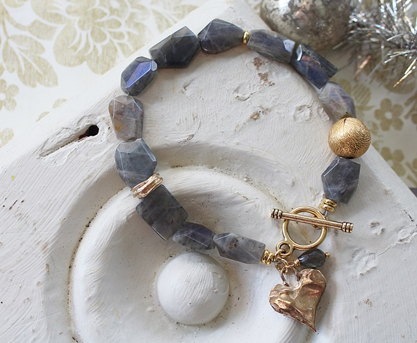 Labradorite and Gold Bracelet - The Frances Bracelet