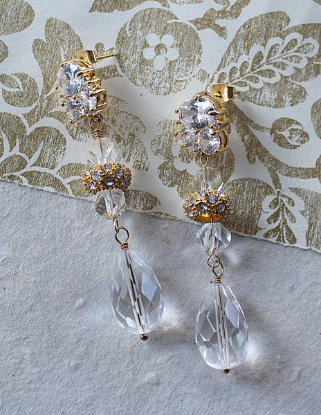 CZ Post and Clear Vintage Glass Dangle Earrings - The Donna Earrings