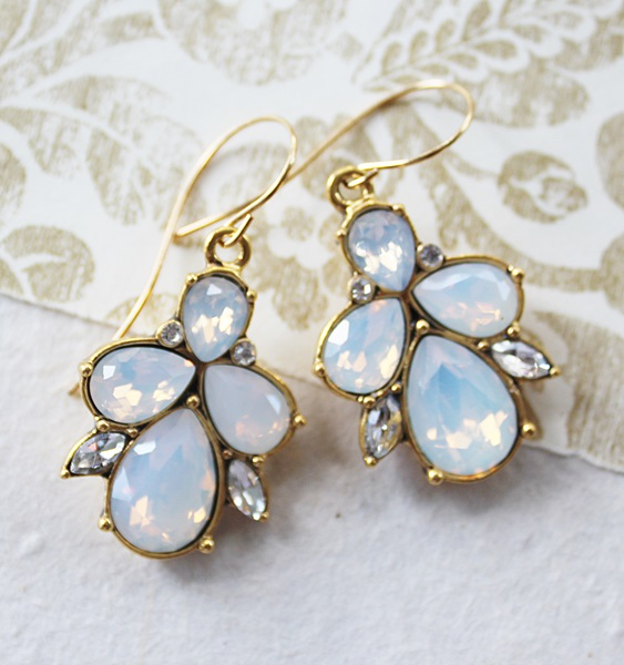 Opal Crystal and Gold Earrings - The Hayley Earrings