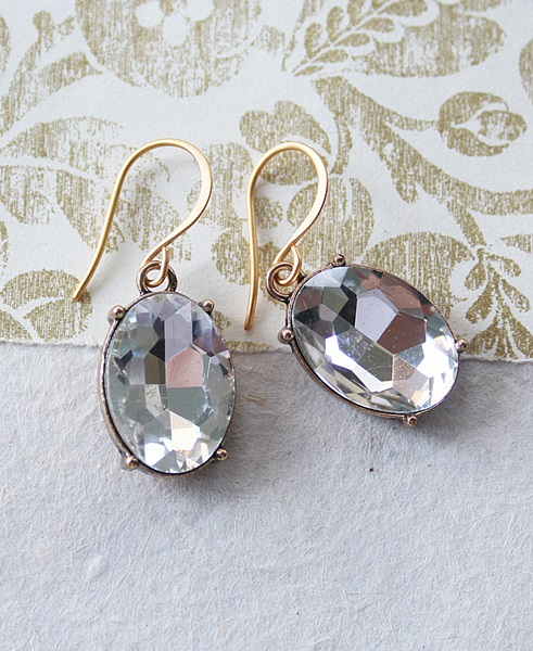 Clear Oval Swarovski Dangle Earrings - The Brandy Earrings