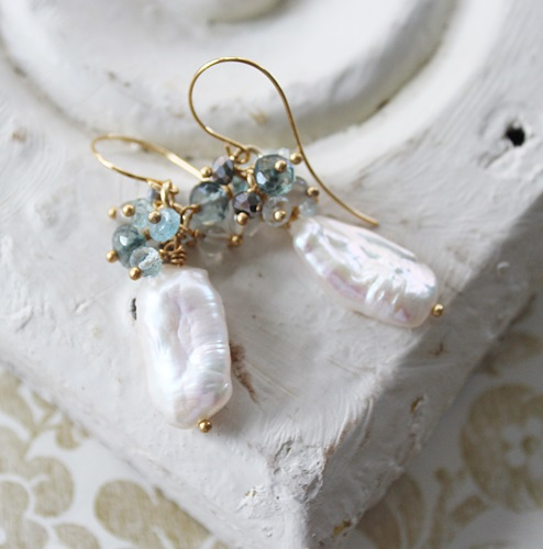 Fresh Water Pearl with Aquamarine, Moss Aquamarine, and Gray Moonstone Cluster Earrings - The Adeline