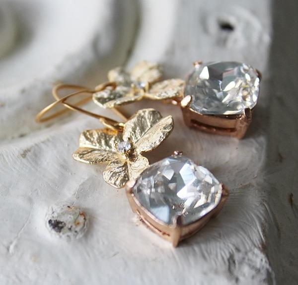 CZ Hydrangea Leaf and Clear Swarovski  Drop Earrings - The Flora Earrings
