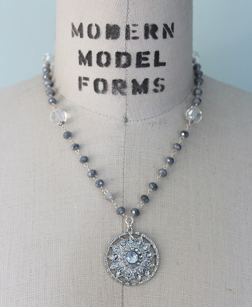 Vintage Glass and Crystal Medallion Necklace - The Moira Necklace