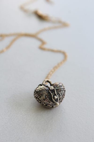 Petite Silver Heart Locket on 14kt Gold Necklace - The Petit Coeur Necklace