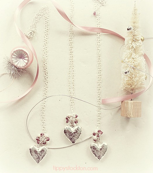 Sterling Silver Heart and Mixed Gem Cluster Necklace - The Valentine Heart Necklace