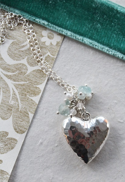 Sterling Silver Heart and Mixed Gem Cluster Necklace - The Christmas Heart Necklace