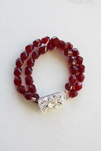 Vintage Red Glass and Rhinestone Clasp Bracelet - The Christmas Bracelet
