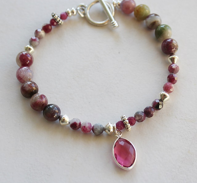Ruby Zoisite, Ruby and Quartz Bracelet - The Cara Bracelet