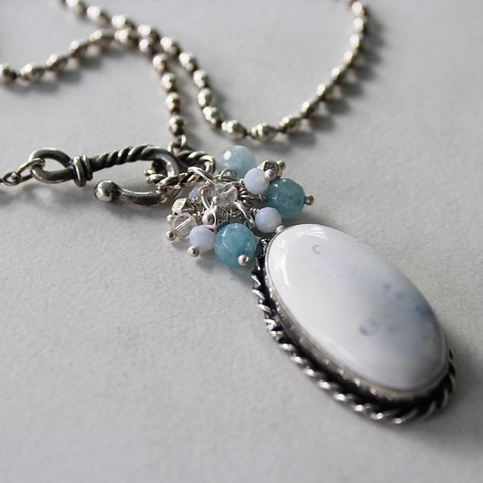 OOAK Blue Lace Agate Cluster Pendant Necklace