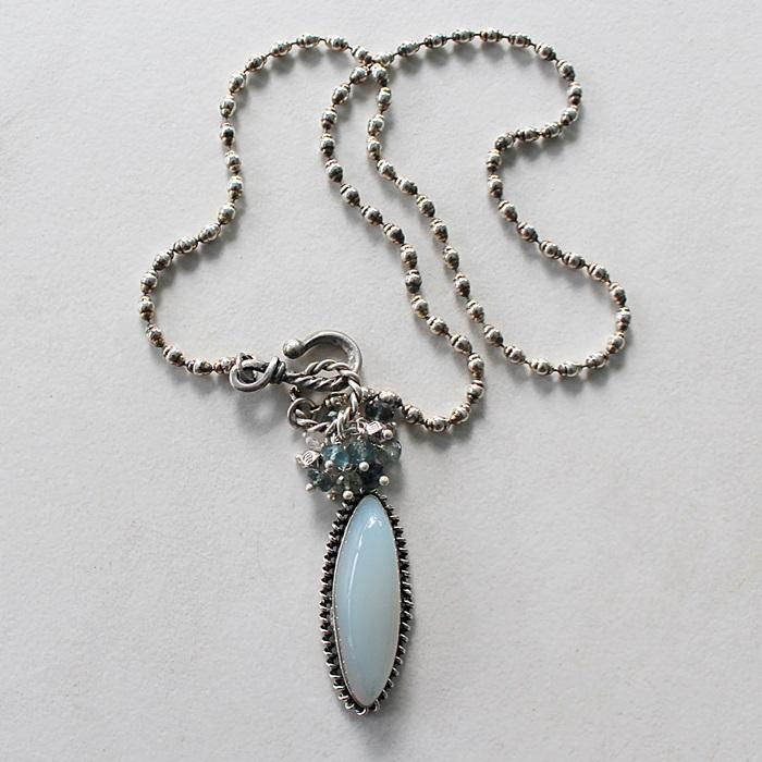 OOAK Blue Chalcedony Cluster Pendant Necklace