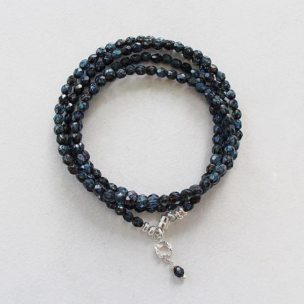 Navy Givre Quad Wrap Bracelet