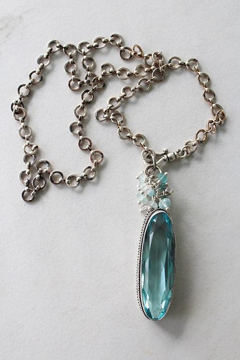 OOAK Aquamarine Cluster Pendant Necklace