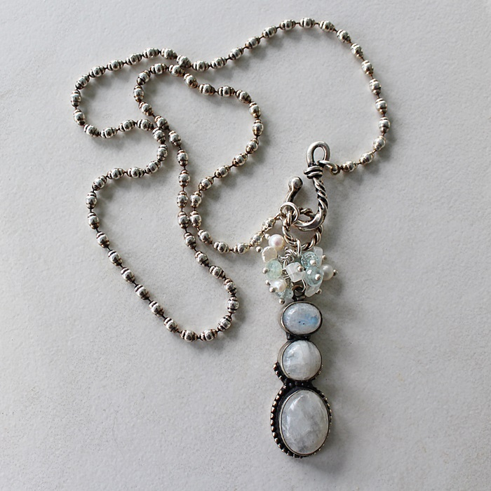 OOAK Moonstone Cluster Pendant Necklace