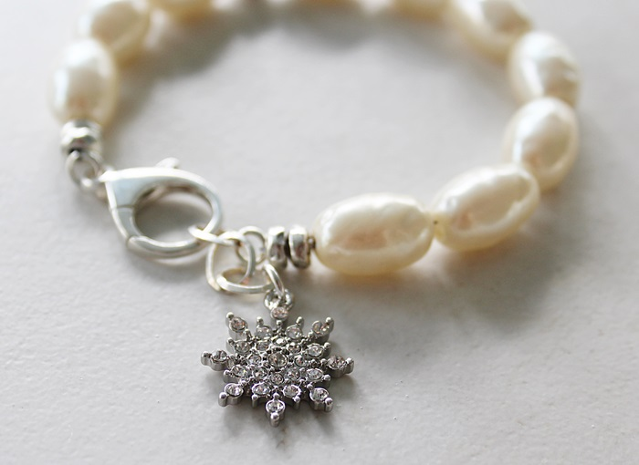 Vintage Miriam Haskell Pearls and Snowflake Charm Bracelet - The First Snow Bracelet