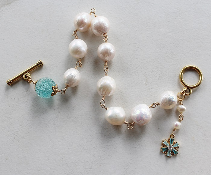 Fresh Water Pearl and Aqua Snowflake Bracelet - The Chloe Bracelet