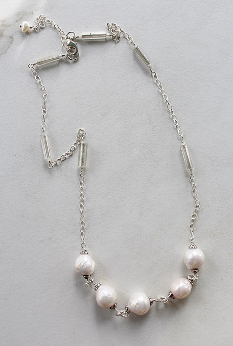 Fresh Water Pearl and Mercury Glass Necklace - The Emory Necklace