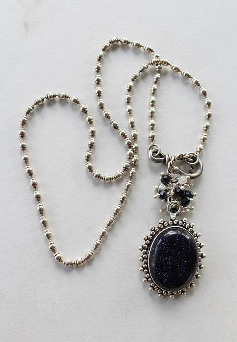 OOAK Blue Goldstone Pendant Necklace