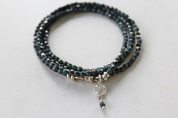 Teal Black Givre Quad Wrap Bracelet/Necklace