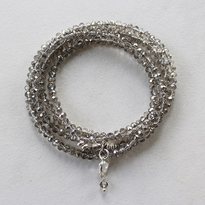 Gray Glass Quad Wrap Bracelet