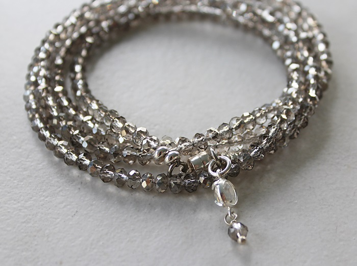 Gray Glass Quad Wrap Bracelet
