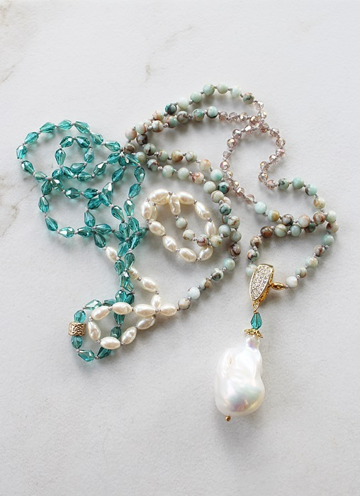 Mixed Gem, Czech Glass, Vintage Glass Pearls,  and Baroque Pearl Knotted Necklace - The Beth Necklace