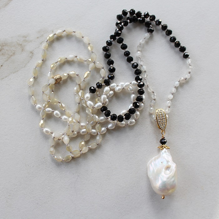 Mixed Gem, Czech Glass, and Baroque Pearl Knotted Necklace - The Laurie Necklace