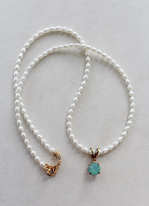 Fresh Water Pearl and Pacific Blue Pendant - The Ainsley Necklace