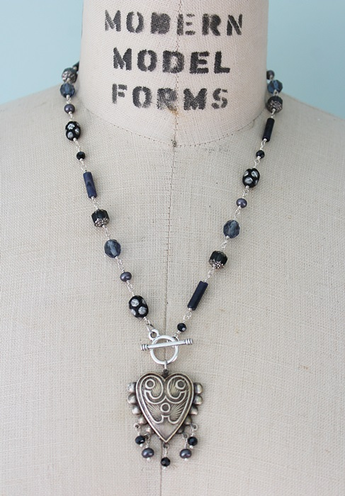 Vintage Glass, Fresh Water Pearl, and Heart Pendant Necklace - The Layne Necklace