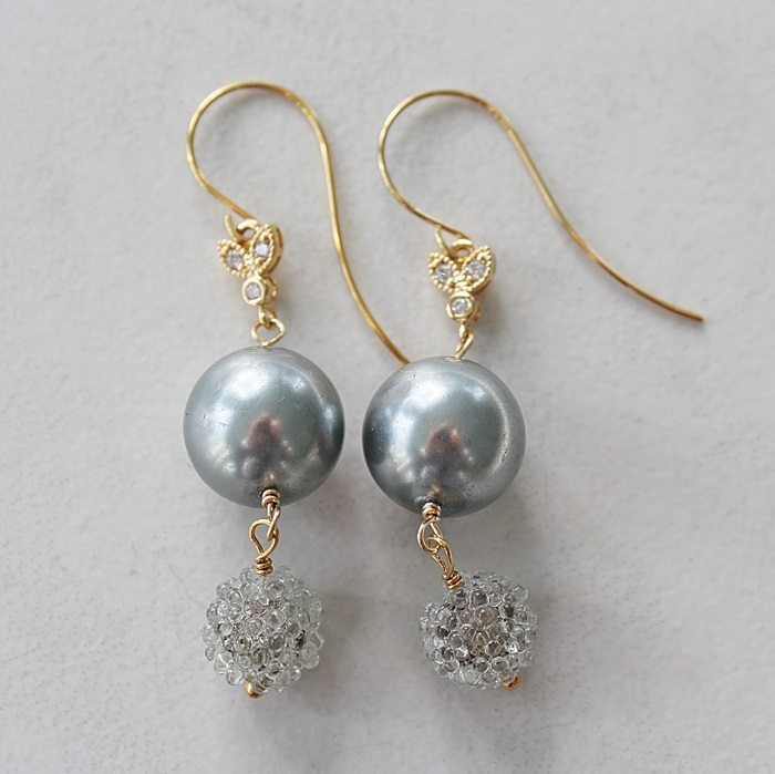 Gray Glass Pearl, German Sugar Beads, and CZ Earrings - The Krista Earrings