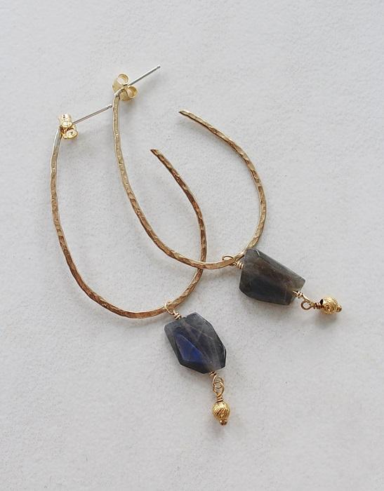 Gold Hoop Posts and Rough Cut Labradorite Dangle Earrings - The Jenna Earrings