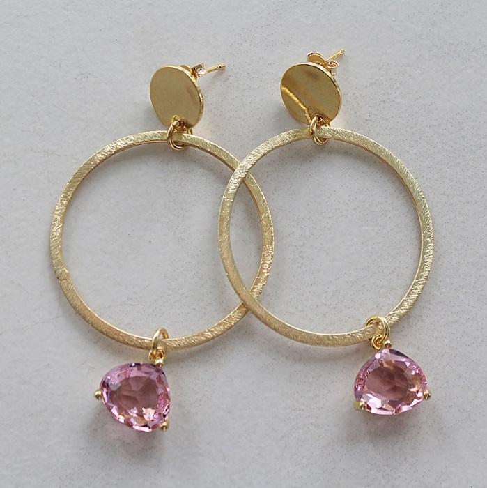 14kt Gold Hoop Post with Quartz Dangle Earrings - The Daria Earrings