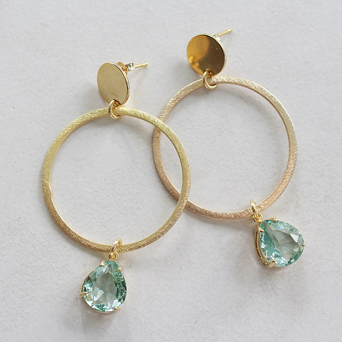 14kt Gold Hoop Post with Quartz Dangle Earrings - The Daria Earrings