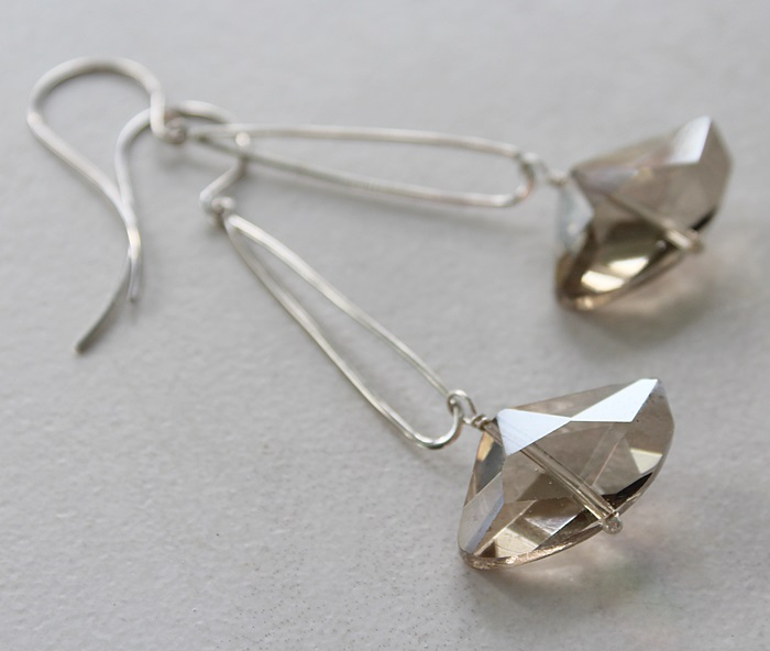Champagne Glass on Sterling Silver Thin Hoops - The Suzanne Earrings