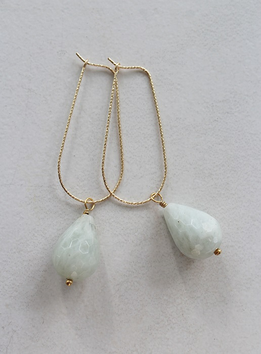 Aquamarine Drops on 14kt Gold Hoops - The Lexi Earrings