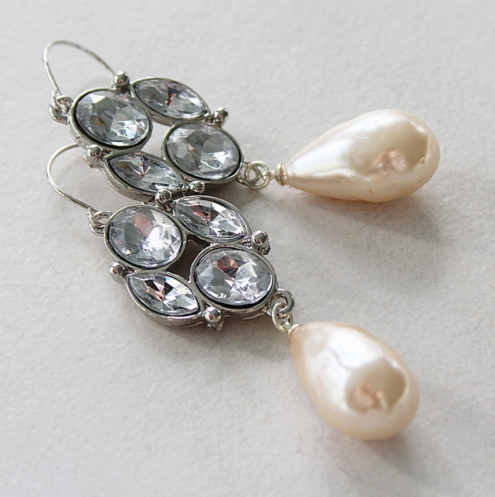 Rhinestone and Miriam Haskell Pearl Drop Earrings - The Tara Earrings