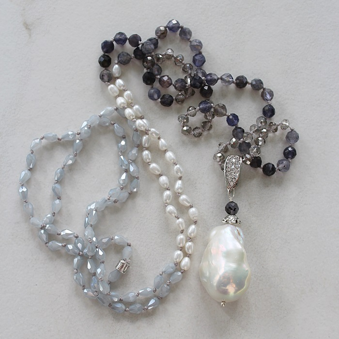 Mixed Gem, Czech Glass, and Baroque Pearl Knotted Necklace - The Jayne Necklace