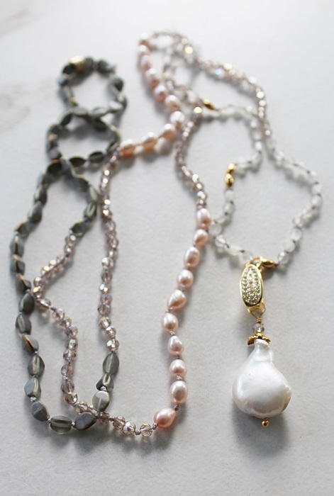 Mixed Gem, Czech Glass, and Baroque Pearl Knotted Necklace - The Amy Necklace
