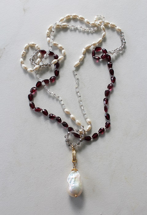 Mixed Gem, Czech Glass, and Baroque Pearl Knotted Necklace - The Meg Necklace