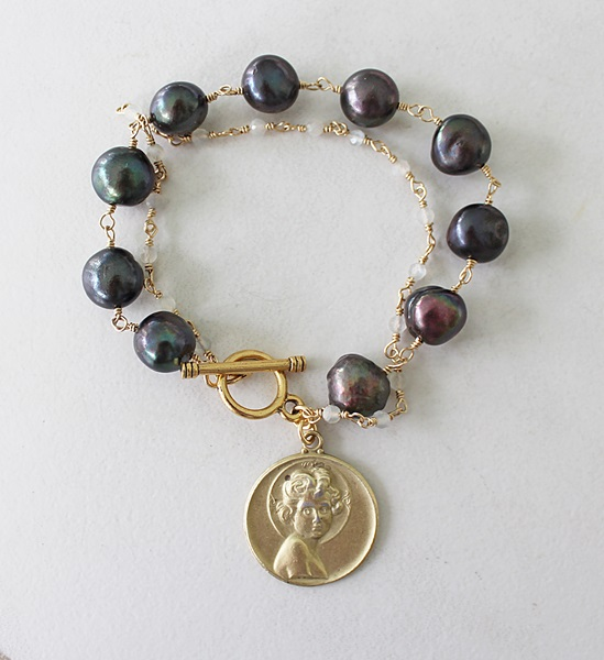 Fresh Water Pearl, Gray Moonstone, and a Holy Childhood Medal - The Cherub Bracelet