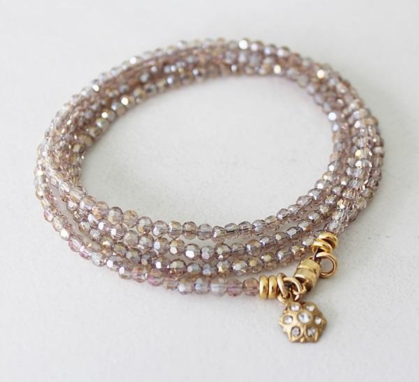 Champagne Glass Quad Wrap Bracelet/Necklace