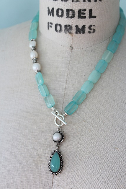 Aqua Quartz and Sterling Silver Necklace - The Laguna Necklace