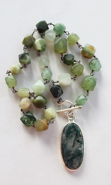 Agate Pendant and Jade Necklace - The Alder Necklace