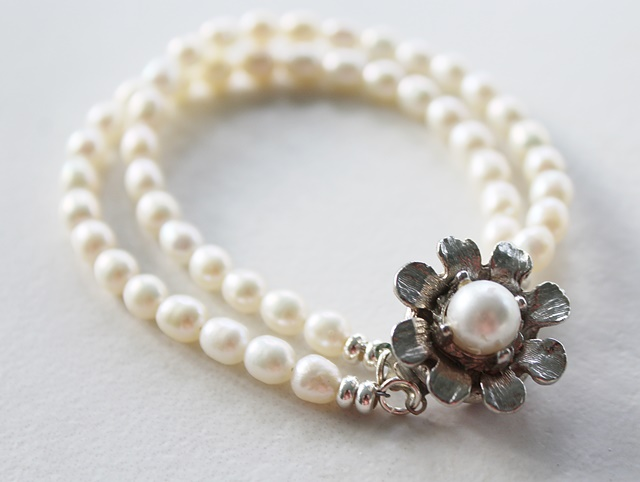 Fresh Water Pearl and Pearl Clasp Bracelet - The Matilda Bracelet