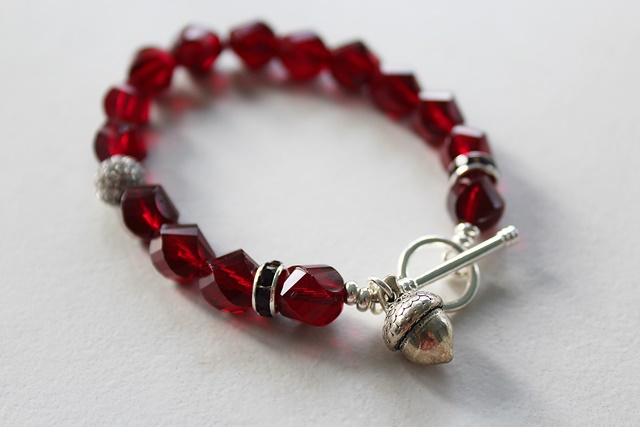 Red Vintage Glass and Acorn Charm Bracelet - The Winter Oak Bracelet