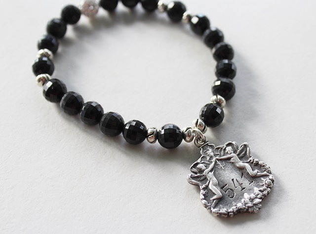 Black Faceted Obsidian Stretch Bracelet with Angel Charm - The Gabriella Bracelet