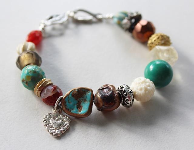 Mixed Gem and Glass Bracelet - The Peace Bracelet