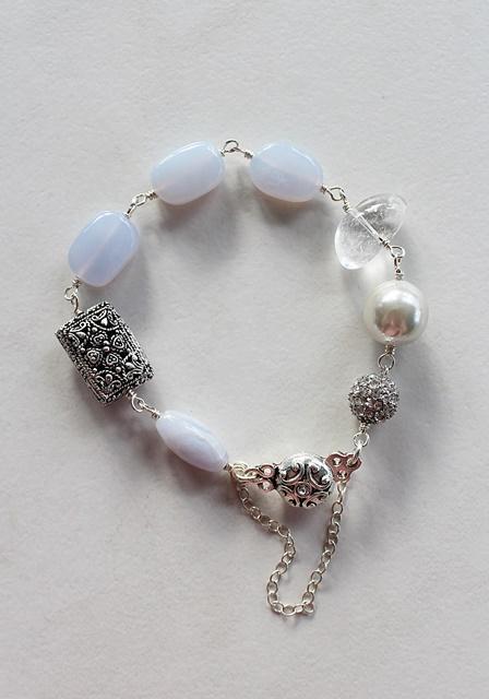 Blue Lace Agate and Chalcedony Bracelet - The Storm Bracelet