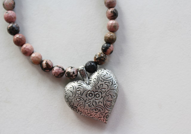 Rhodonite and Etched Heart Necklace - The Riley Necklace