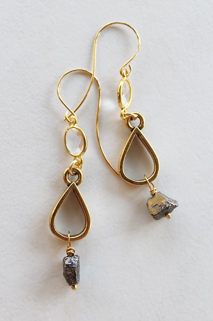 Pyrite  and Clear Quartz Earrings - The Trina Earrings